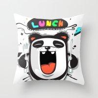 PANDA LUNCH TIME! Throw Pillow