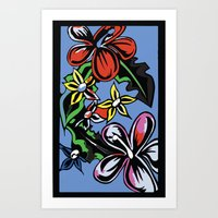 Tropical Flowers Blue Art Print