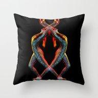 Metallic Rainbow Dancer Throw Pillow