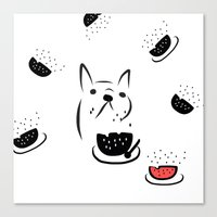 Water Melon Frenchie Canvas Print