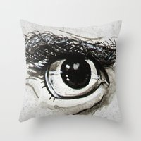 Doubt Black Eyes Throw Pillow