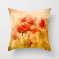 Fiery Poppies In A Golde… Throw Pillow