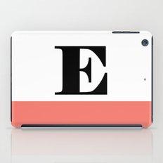 Monogram Letter E-Pantone-Peach Echo iPad Case
