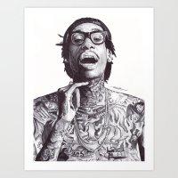 Wiz Khalifa Pen Drawing  Art Print