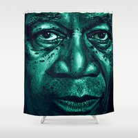 freeman in green Shower Curtain