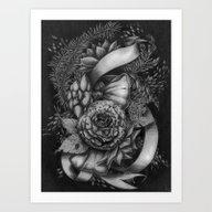 Peony And Succulents Art Print