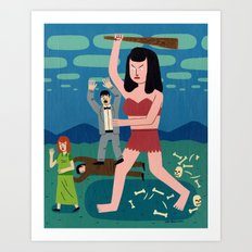 Giant Woman Attack Art Print