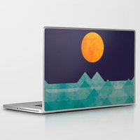 sun Laptop & iPad Skins featuring The ocean, the sea, the wave - night scene by Picomodi