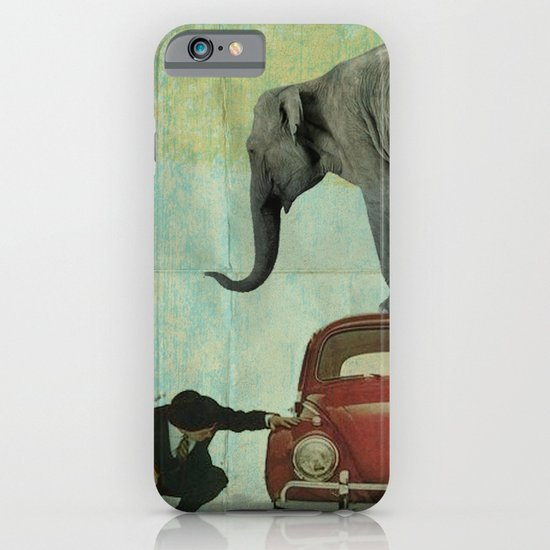 Looking for Tiny _ elephant on a red VW beetle iPhone & iPod Case