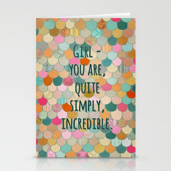 Don't forget, girl - you are, quite simply, incredible. Stationery Card