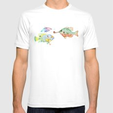 Fishes  SMALL White Mens Fitted Tee