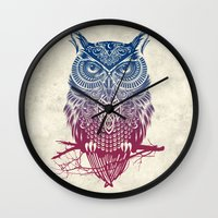 Evening Warrior Owl Wall Clock