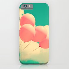 Happy Pink Balloons on retro blue sky  iPhone 6s Slim Case