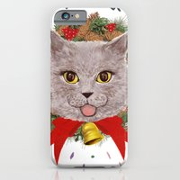 iPhone & iPod Case featuring Christmas Cat  by Joe Tin Illustration