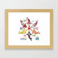 Kawaii Koi Lotus Mandala Framed Art Print