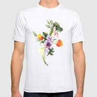 Watercolor Spring Floral… Mens Fitted Tee Ash Grey SMALL