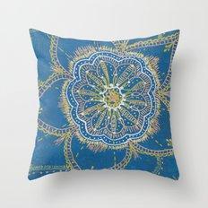 Gold, Silver, Bronze Mandala Throw Pillow