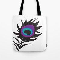 Plum Peacock Tote Bag