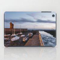 Boats in Lynmouth Harbour at dawn twilight. Devon, UK. iPad Case