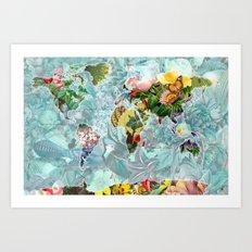 World Map of Flowers Art Print