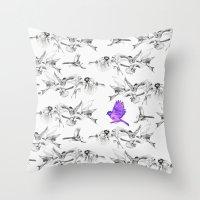 BIRD GEHRL Throw Pillow