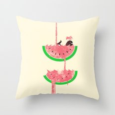 watermelon falls Throw Pillow