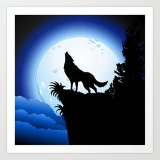 Wolf Howling At Blue Moo… Art Print