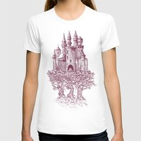 trees T-shirts featuring Castle in the Trees by Rachel Caldwell