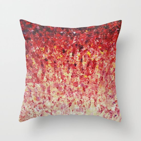 HYPNOTIC SUNRISE - Stunning Sunrise Sunset Pink Magenta Peach Crimson Bright Red Cream Throw Pillow