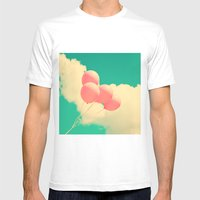 Happy Pink Balloons On R… Mens Fitted Tee White SMALL