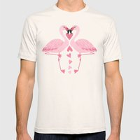 Flamingo Love. Mens Fitted Tee Natural SMALL