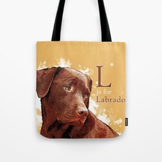 L is for Labrador Tote Bag
