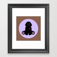 Stuffed Black Dog Framed Art Print
