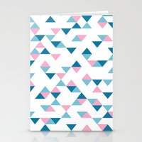 Triangles Blue and Pink Stationery Cards