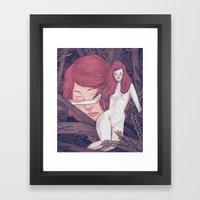 girl in the woods Framed Art Print