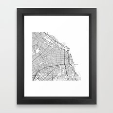 Buenos Aires Map, Argentina - Black and White Framed Art Print