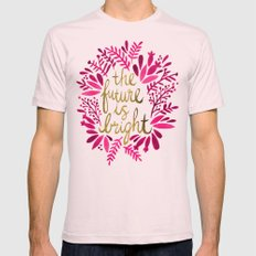 The Future is Bright – Pink & Gold Mens Fitted Tee Light Pink SMALL