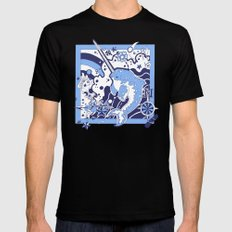 Ode to a Narwhal: Blue Mens Fitted Tee Black SMALL