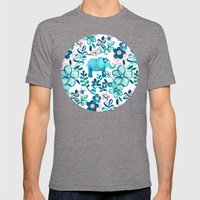 Dusty Pink, White and Teal Elephant and Floral Watercolor Pattern Mens Fitted Tee Tri-Grey SMALL