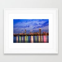 Harvard Bridge, colorful reflection Framed Art Print