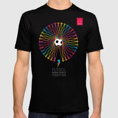 Futbol Brings People Together SMALL Black Mens Fitted Tee