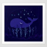 Whale Night Art Print