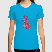 heart Womens Fitted Tee Teal SMALL