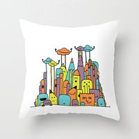 Monster Tower II Throw Pillow