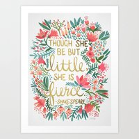 floral Art Prints featuring Little & Fierce by Cat Coquillette