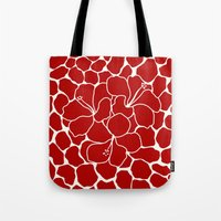 Hibiscus Animal RED IVORY Tote Bag