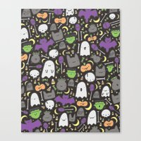 Kawaii Halloween - Black Canvas Print