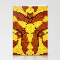 Geometric Bat Pattern - Golden version Stationery Cards