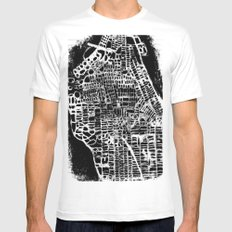 NEW YORK CITY MAP SMALL White Mens Fitted Tee