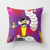DJ Moustache  Throw Pillow